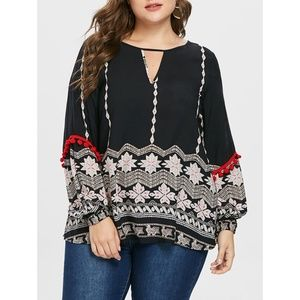 Rosegal for Curves Collection Tops - ☀ Plus Size  Keyhole Neck Boho Printed Blouse ☀